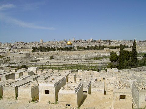 View of the Temple Mount from the Jewish Cemitery (Mount of Olives)